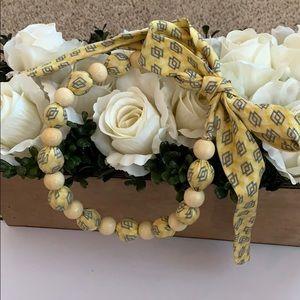 Vintage yellow necktie/beaded necklace